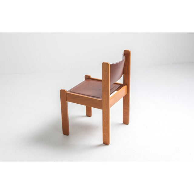 Oak & Leather Dining Chairs For Sale - Image 9 of 12