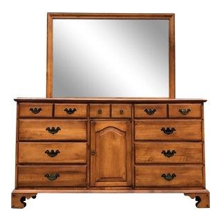 Solid Cherry Dresser & Mirror For Sale
