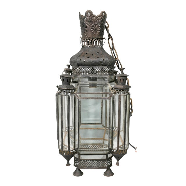 Moroccan Black Painted Tole Hall Lantern For Sale In Boston - Image 6 of 11