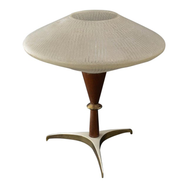 Mid-Century Design Decorative Atomic Tripod Teak Brass Glass Table Lamp by Phillips, 1950s For Sale