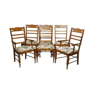 Pennsylvania House Solid Maple Set 6 Country Ladder Back Dining Chairs For Sale