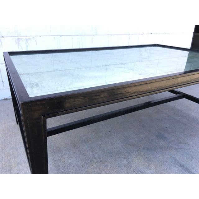 Black Antique Mirror Top Coffee Table With Ebonized Black Walnut Frame For Sale - Image 8 of 13