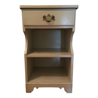 1970's Ethan Allen Antique White Solid Wood Nightstand For Sale