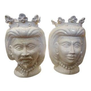 20th Century Italian White Glazed Terracotta Bust Jardinieres-A Pair For Sale