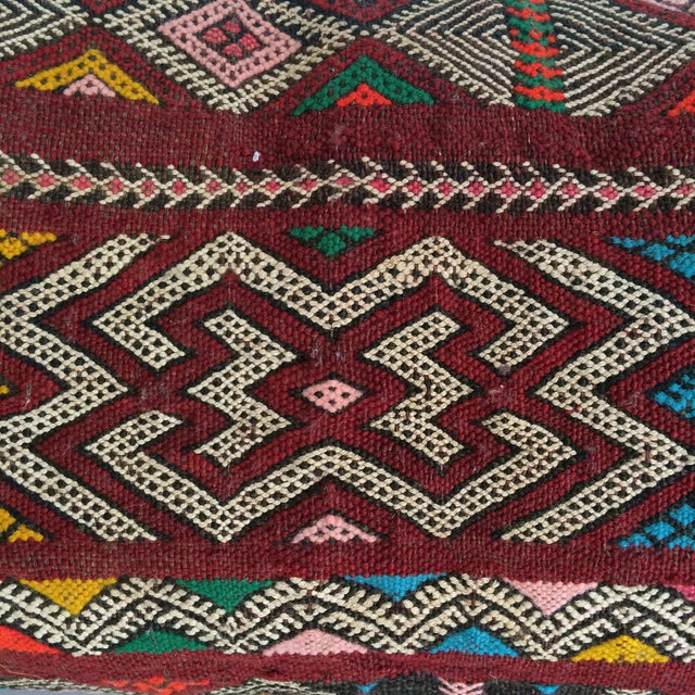 Burgundy Turkish Kilim Pillow - Image 7 of 11