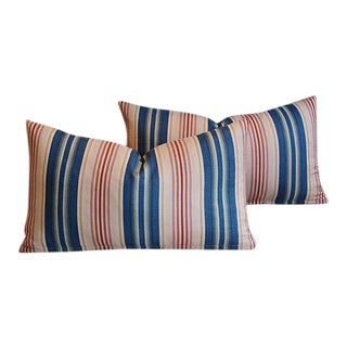 Custom Blue, Pink & Red Striped Feather Pillows - A Pair