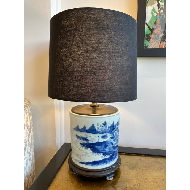 Ceramic Antique Chinoiserie Delftware Lamp For Sale - Image 7 of 7