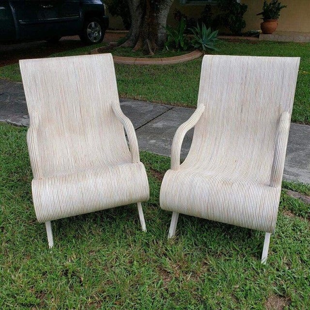Pair of Modern Pencil Reed Lounge Chairs. Seat H 15""