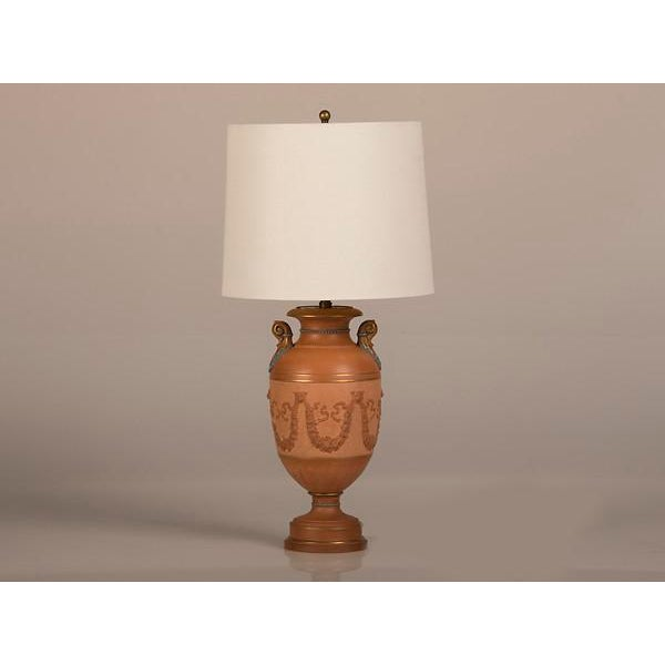 A beautiful neoclassical terra cotta urn from England circa 1880 now wired as a table lamp. Please notice the elegant...