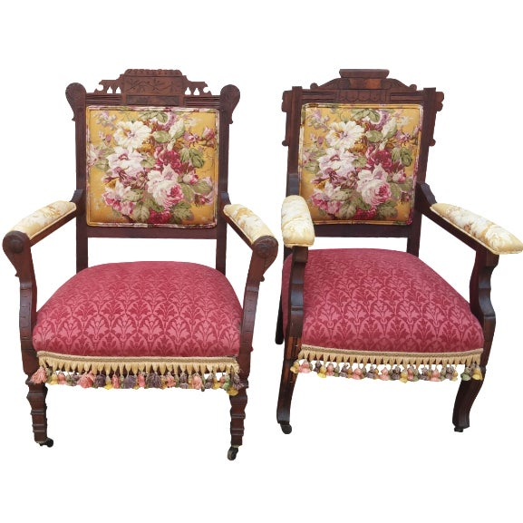 Vintage Eastlake Armchairs - A Pair - Image 1 of 11