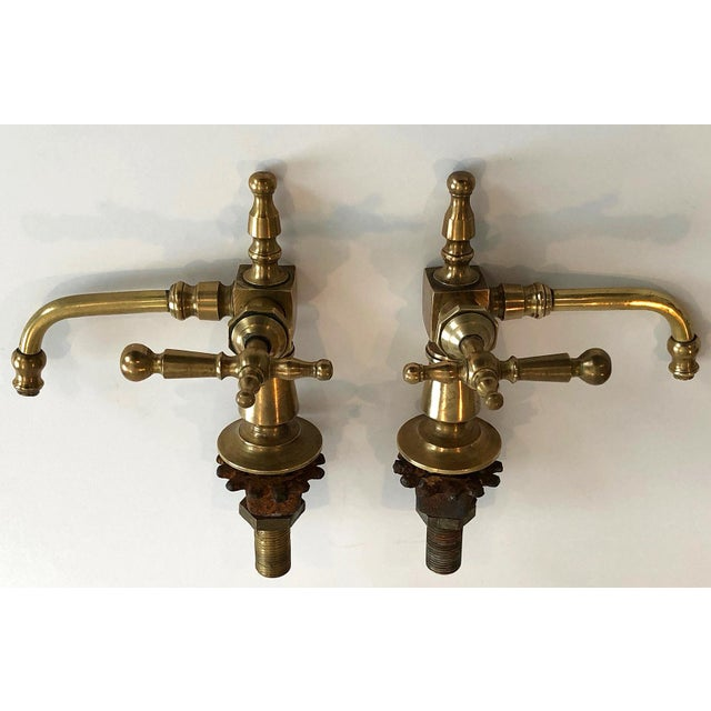 Antique French Brass Faucet Fixtures, Pair - Image 6 of 11