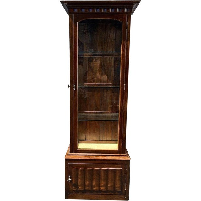 English Antique English and Narrow Linen Fold Vitrine Showcase Cabinet For Sale - Image 3 of 4