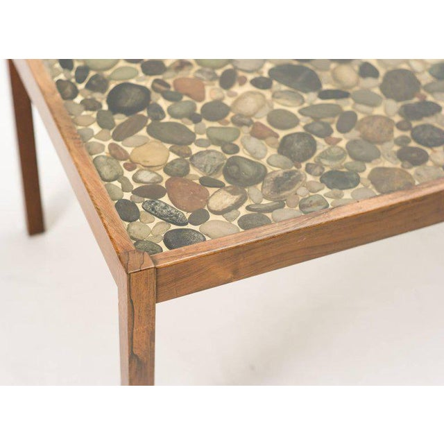 Plastic Scandinavian Modern Rosewood Table with Cast Pebbles For Sale - Image 7 of 8