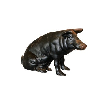 19th Century American Sculptural Black Cast Iron Piggy Bank For Sale