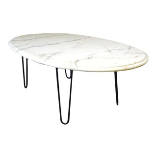 1960s Mid Century Modern White Marble Coffee Cocktail Table For Sale