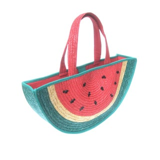 Lulu Guinness London Whimsical Large Straw Watermelon Tote Style Handbag C 1990 For Sale