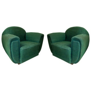 1930s French Art Deco Upholstered Club Chairs-A Pair For Sale