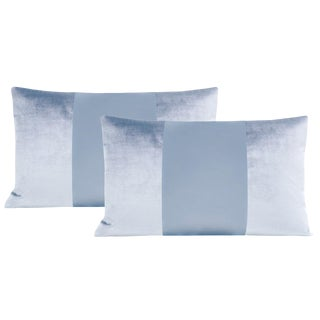 "12""x 18"" Hydrangea Blue Velvet & Silk Panel Lumbar Pillows - a Pair For Sale"