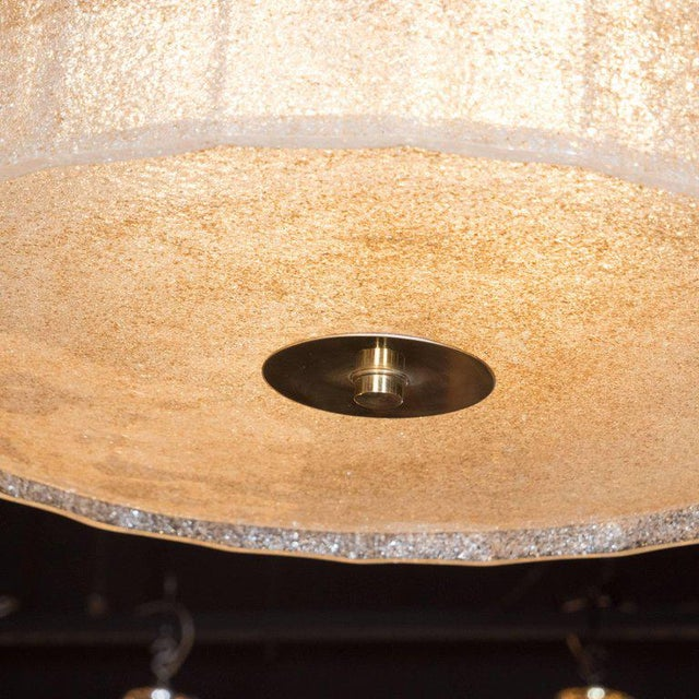 Midcentury Gold Flecked Murano Glass Drum Shade Chandelier with Brass Fittings For Sale - Image 4 of 8