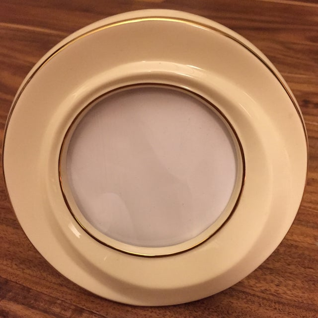Vintage Lenox Ivory & Gold Round Ceramic Picture Frame   Chairish