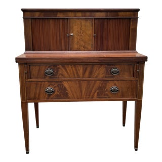 Flame Mahogany Tambour Federal Writing Desk For Sale
