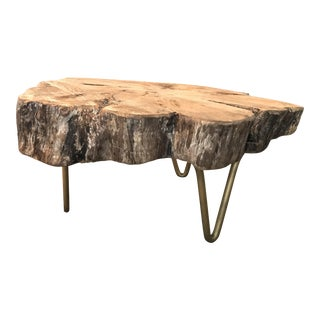Living Edge With Gold Accents Coffee Table