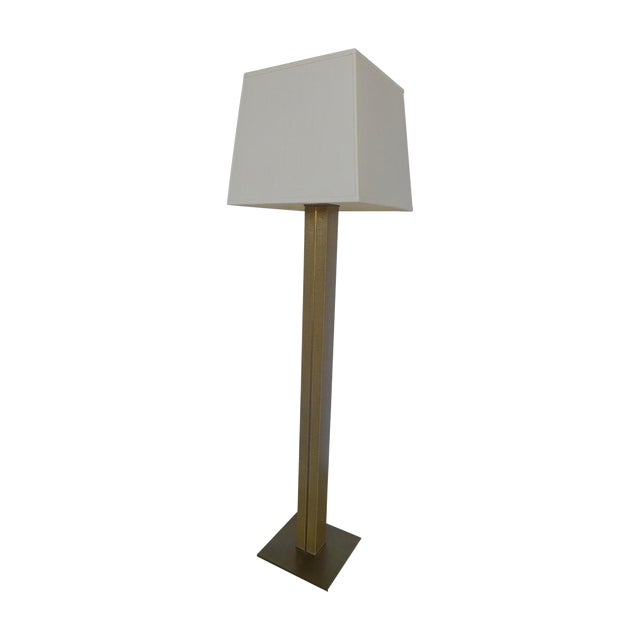 1970s Karl Springer Linen and Brass Floor Lamp For Sale