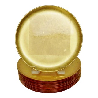Japanese Gold Foil Lacquer Plates, Set of 14