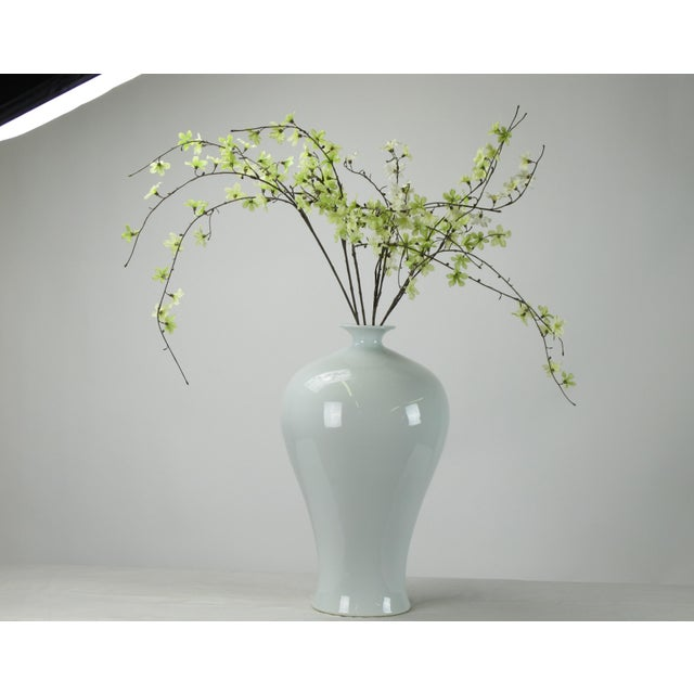 Asian Large Asian Style White Porcelain Vase For Sale - Image 3 of 4