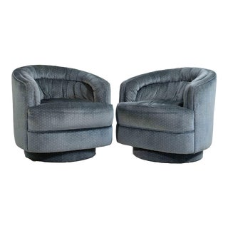 1980s Mid Century Modern Teal Swivel Chairs - a Pair For Sale