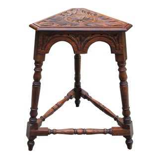Antique English Table Bench Stool Carved Oak Triangular End Table For Sale