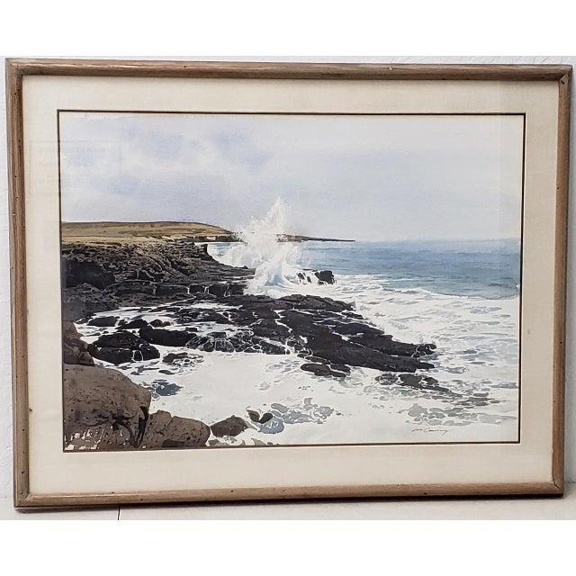 Merv Corning (1926-2006) Rocky Coastal Landscape Watercolor For Sale - Image 9 of 9