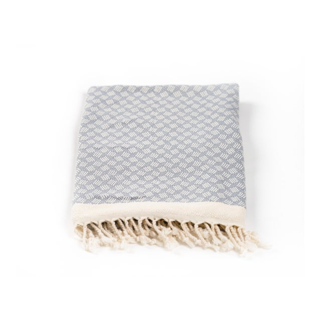 Modern Love Handmace Organic Cotton Towel in Slate Grey For Sale - Image 4 of 6