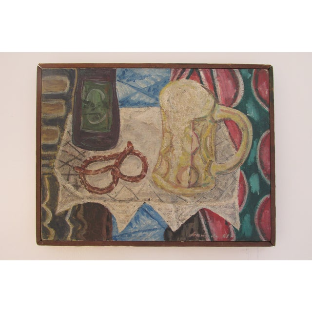 Vintage Painting of Pretzel and Beer Mug - Image 2 of 6