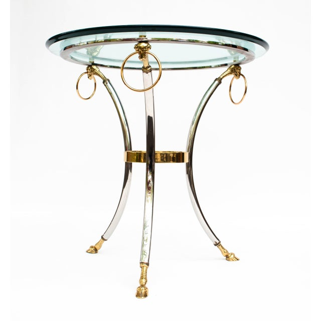 Metal Brass, Chrome and Glass Rams Head Hoof Round Side Table For Sale - Image 7 of 12