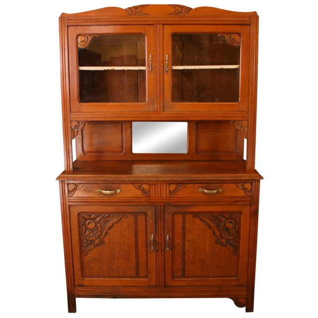 Vintage French Cabinet & Hutch For Sale