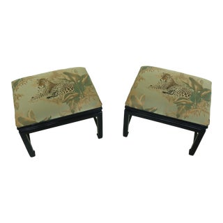 Pair Chinese Design Leopard Print Upholstered Stools For Sale