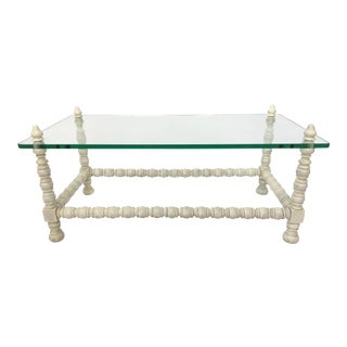 Hollywood Regency Wood & Glass Bobbin Leg Coffee Table For Sale