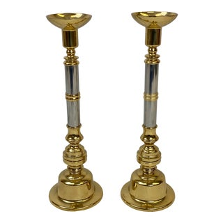 Vintage Brass & Chrome Pillar Candle Stands - Pair For Sale