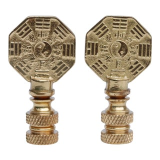 Yin & Yang Brass Lamp Finials - a Pair For Sale