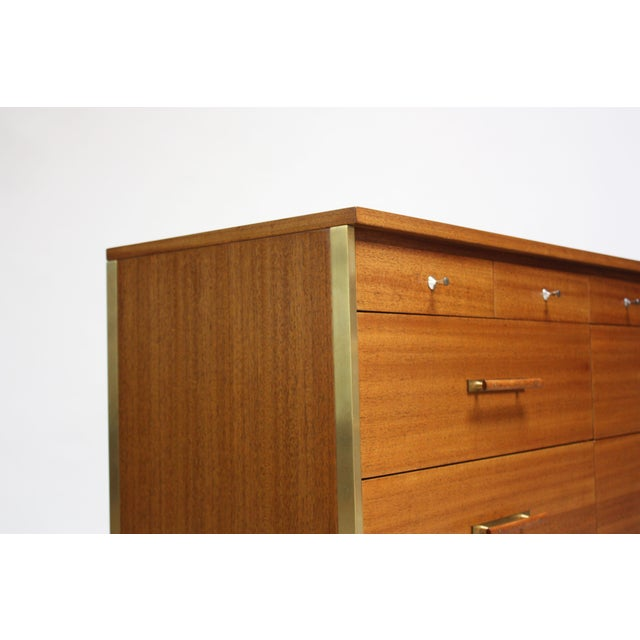 Calvin Furniture Paul McCobb Mahogany and Brass 6000 Series Directional Cabinet For Sale - Image 4 of 13