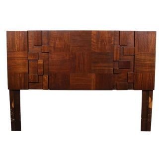 Mid Century Brutalist Queen Size Headboard by Lane For Sale