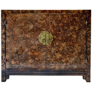 Tortoise Shell Burled Wood Cabinet For Sale