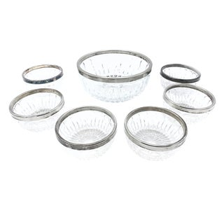 1960s Vintage Mid-Century Leonard Crystal Serving Bowls With Silver Plated Rims - Set of 7 For Sale