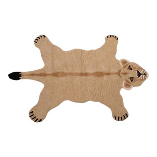 Boho Chic Lioness Shaped Animal Design Area Rug For Sale