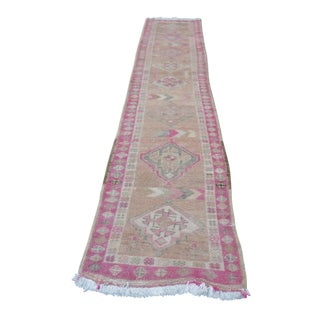 1960s Traditional Turkish Antique Faded Pink and Camel Runner Rug - 2′3″ × 13′2″