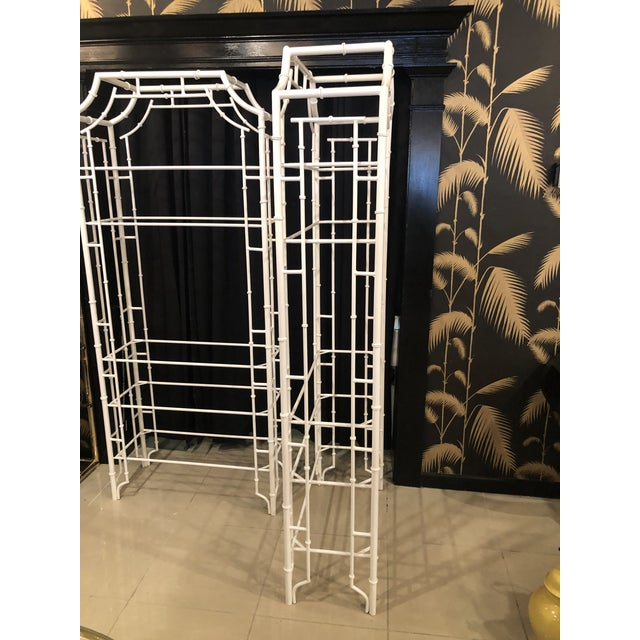 Vintage Chinese Chippendale Newly White Powder-Coated Faux Bamboo Pagoda Metal Shelves Etageres -A Pair For Sale - Image 10 of 13