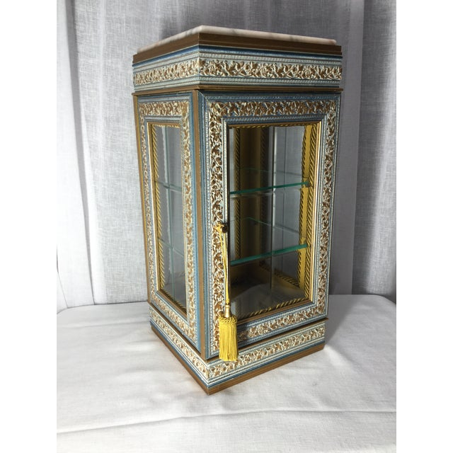 Metal Italian Tabletop Display Case With Marble Top For Sale - Image 7 of 7