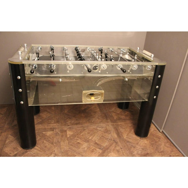 1970s Lucite and Mirror Polished Aluminum Foosball Table For Sale - Image 9 of 12