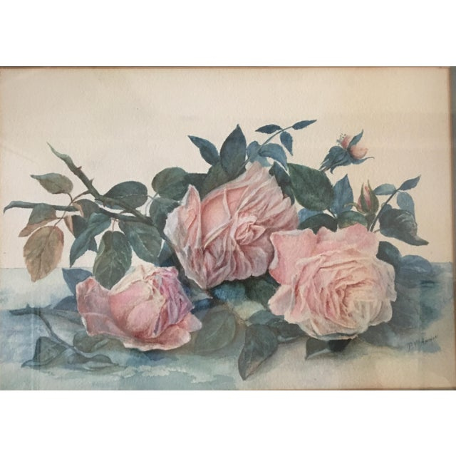 Paint Floral Watercolor Framed Matted With Glass Signed Painting For Sale - Image 7 of 7